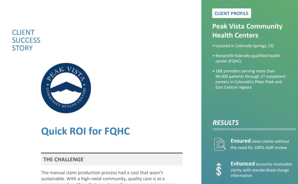 Quick ROI for FQHC