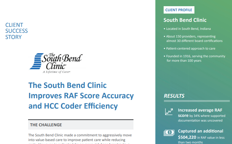 South Bend Clinic Improves RAF Score Accuracy and HCC Coder Efficiency